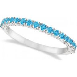 Half-Eternity Pave Thin Blue Topaz Stack Ring 14k White Gold (0.65ct)