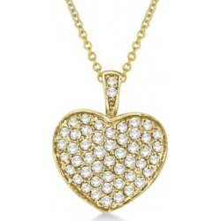 Diamond Puffed Heart Pendant Necklace in 14k Yellow Gold (1.30ct) found on Bargain Bro from Allurez for USD $1,331.52