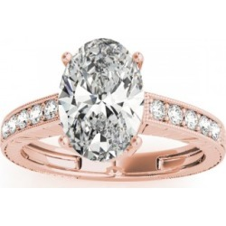Diamond Accented Oval Engagement Ring Setting 18k Rose Gold 0.10ct found on Bargain Bro Philippines from Allurez for $1265.00
