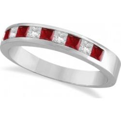 Princess-Cut Channel-Set Diamond & Garnet Ring Band 14k White Gold