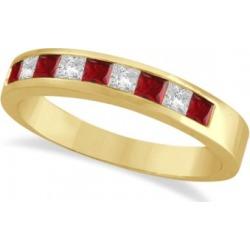 Princess-Cut Channel-Set Diamond & Garnet Ring Band 14k Yellow Gold