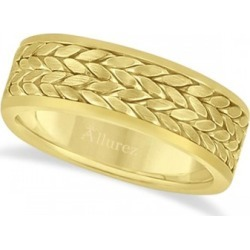 Men's Modern Braided Handwoven Wedding Ring in 14k Yellow Gold (8mm) found on MODAPINS from Allurez for USD $1220.00