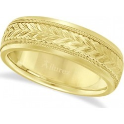 Hand Engraved Wedding Band Carved Ring in 14k Yellow Gold (4.5mm) found on Bargain Bro from Allurez for USD $614.08
