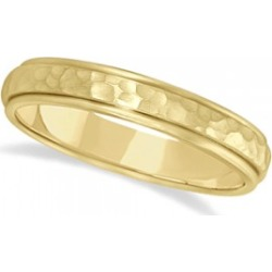 Satin Hammered Finished Carved Wedding Ring Band 18k Yellow Gold (4mm) found on Bargain Bro from Allurez for USD $893.76
