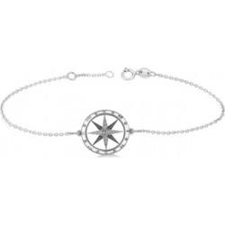 Diamond Nautical Compass Bracelet 14k White Gold (0.19ct)