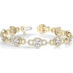 Luxury Halo Diamond Link Bracelet 18k Yellow Gold (5.00ct) found on Bargain Bro India from Allurez for $13671.00