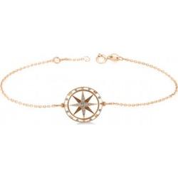 Diamond Nautical Compass Bracelet 14k Rose Gold (0.19ct)