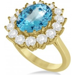 Oval Blue Topaz & Diamond Accented Ring in 14k Yellow Gold (5.40ctw) found on Bargain Bro India from Allurez for $3121.00
