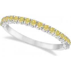 Half-Eternity Pave Thin Yellow Diamond Stack Ring 14k White Gold (0.50ct)