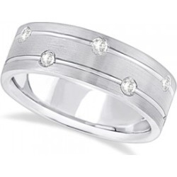 Mens Wide Band Diamond Wedding Ring w/ Grooves 14k White Gold (0.40ct) found on Bargain Bro from Allurez for USD $1,598.28