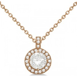 Diamond Halo Pendant Necklace Round Solitaire 14k Rose Gold (1.00ct) found on Bargain Bro India from Allurez for $2992.00