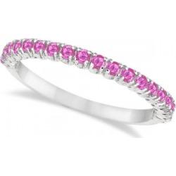 Half-Eternity Pave-Set Thin Pink Sapphire Stack Ring Palladium (0.65ct)