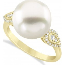South Sea Pearl & Diamond Ring 14k Yellow Gold (12.00mm)