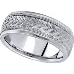 Hand Engraved Wedding Band Carved Ring in 14k White Gold (6.5mm) found on Bargain Bro from Allurez for USD $848.92