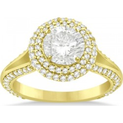 Double Halo Diamond Engagement Ring Setting 18k Yellow Gold (1.00ct) found on Bargain Bro from Allurez for USD $2,708.64