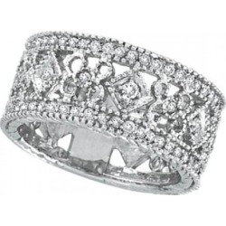 Antique Style Diamond Eternity Ring Wide Band 14k White Gold (0.66ctw) found on Bargain Bro from Allurez for USD $1,489.60