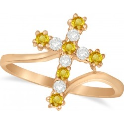 Diamond & Yellow Sapphire Religious Cross Twisted Ring 14k Rose Gold (0.33ct) found on Bargain Bro India from Allurez for $906.00