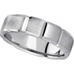 Diamond Carved Wedding Band For Men in 18k White Gold (6mm)