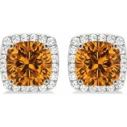 Cushion Cut Citrine & Diamond Halo Earrings 14k White Gold (1.50ct) found on Bargain Bro from Allurez for USD $1,782.20