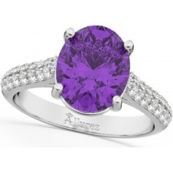 Oval Amethyst & Diamond Engagement Ring 14k White Gold (4.42ct) found on Bargain Bro India from Allurez for $2250.00