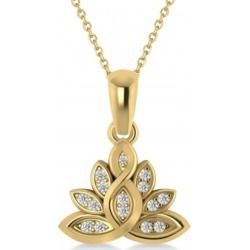 Diamond Lotus Flower Pendant Necklace 14k Yellow Gold (0.15ct) found on Bargain Bro Philippines from Allurez for $736.00