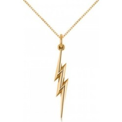 Lightning Bolt Drop Pendant Necklace in Plain Metal 14k Yellow Gold found on Bargain Bro India from Allurez for $431.00