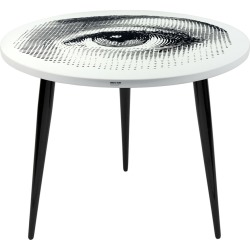 Fornasetti - Occhio Table with Wooden Legs - 60cm Dia