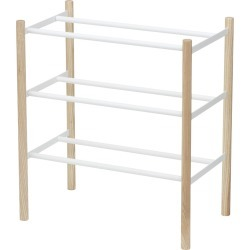 Yamazaki - Extendable Three Tier Shoe Rack - White