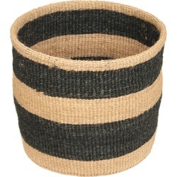 The Basket Room - Linear Fusion Mchoro Hand Woven Basket - Black Stripe - S