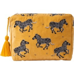Elizabeth Scarlett - Zebra Cosmetic Bag with Tassel - Mustard - Large found on MODAPINS from Amara US for USD $53.00