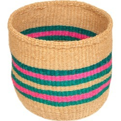 The Basket Room - Linear Fusion Ndoto Hand Woven Basket - Pink/Turquoise - S