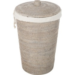 Decor Walther - Basket WB Laundry Basket - Round with Cloth Bag - Light Rattan found on Bargain Bro UK from Amara UK
