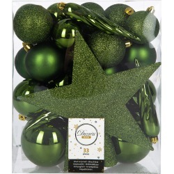 A by Amara - Set of 33 Assorted Baubles and Tree Topper - Pine Green found on Bargain Bro UK from Amara UK