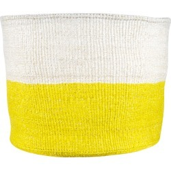 The Basket Room - Alizeti Yellow Color Block Hand Woven Basket - XL
