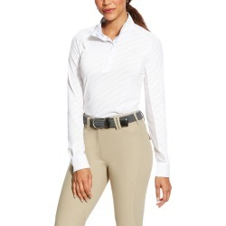 Women's Marquis Show Top Long Sleeve in White Mesh/Print, Size X-Small, by Ariat