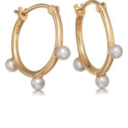 Hazel Pearl Hoop Earrings - Yellow Gold (Vermeil) found on MODAPINS from astleyclarke.com for USD $177.80