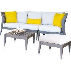 Poolside Linen Champagne Five-Piece Outdoor Sectional Set