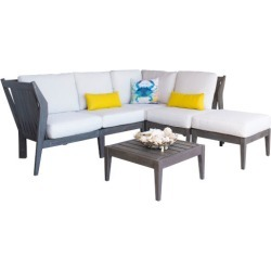 Poolside Canvas Six-Piece Outdoor Sectional Set