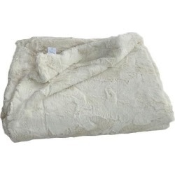 Ivory Lux Faux Fur Throw Blanket