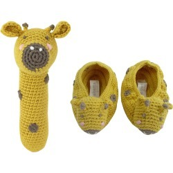 Crochet Giraffe Rattle w/ Matching Booties, Baby