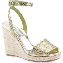 Metallic Brocade Platform Espadrille Sandals