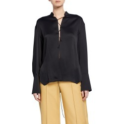 Athena Crisscross-Front Satin Blouse found on MODAPINS from Bergdorf Goodman for USD $760.00