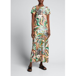 Printed Short-Sleeve Maxi Swing Dress found on MODAPINS from Bergdorf Goodman for USD $610.00