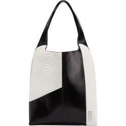 Grand Shopper Python Tote Bag, Black/White