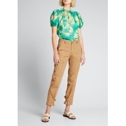 Isolda Puff-Sleeve Silk Top found on MODAPINS from Bergdorf Goodman for USD $425.00