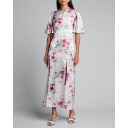 Flutter-Sleeve Split-Front Floral Dress found on MODAPINS from Bergdorf Goodman for USD $630.00