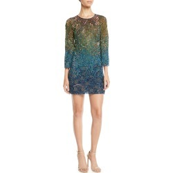 Rigel Jewel-Neck Bell-Sleeve Beaded Patterned Shift Cocktail Dress found on MODAPINS from Bergdorf Goodman for USD $1090.00