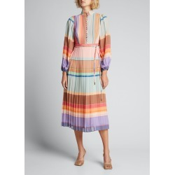 Pleated Long-Sleeve Striped Midi Dress found on Bargain Bro India from Bergdorf Goodman for $750.00