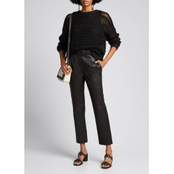 Leather Cropped Pants w/ Raffia Belt found on Bargain Bro India from Bergdorf Goodman for $4495.00