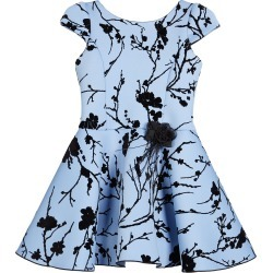 Girl's Skylar Flocked Cap-Sleeve Neoprene Dress, Size 4-6X found on Bargain Bro India from Bergdorf Goodman for $68.00